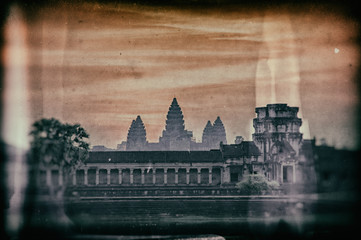 Stunning Sunrise in vintage style at Angkor Wat - Siem Reap - Cambodia Biggest religious monument on the World
