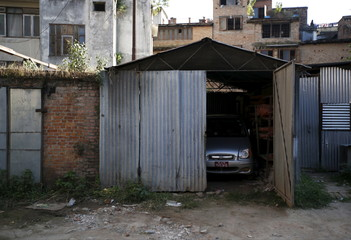 Car is seen parked inside a garage as fuel crisis continues in Kathmandu
