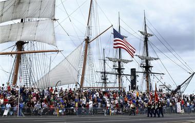 A U.S. Marine honor guard leads annual Veterans Day Parade in San Diego, California