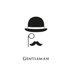 Gentelman logo. Mustache and Glasses hipster hat sunglasses.