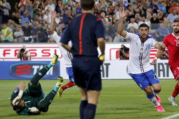 Italy's Pelle celebrates after scoring against Malta during their Euro 2016 qualification match at the Franchi stadium in Florence