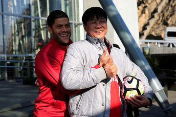 Brazilian football player Hulk poses for pictures during the 2017 SIPG Football Club's season mobilization of the Chinese Super League, in Shanghai