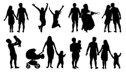 Silhouette of couple, family with children, isolated vector set on white background