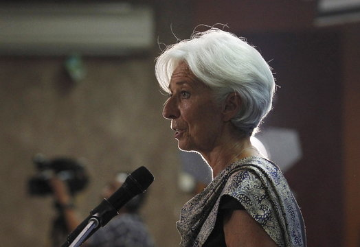 International Monetary Fund (IMF) Managing Director Christine Lagarde speaks at a public lecture at the University of Indonesia in Jakarta