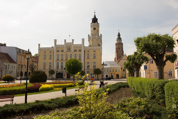 Town hall and the main square in Wschowa, Poland