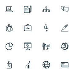 Trade Outline Icons Set. Collection Of Analytics, Statistics, Manager And Other Elements. Also Includes Symbols Such As Analytics, Statistics, Leader.