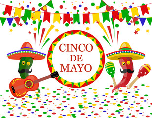 Cinco de Mayo. Sombrero, guitar, confetti, flags, maracas green and red peppers. illustration