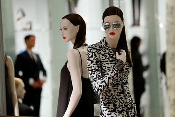 Mannequins are seen at Dior's new flagship store in London