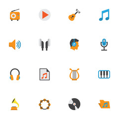 Multimedia Flat Icons Set. Collection Of Acoustic, Rhythm, Broadcasting And Other Elements. Also Includes Symbols Such As Earmuff, Archive, Portfolio.