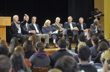 Penn State University President Erickson leads the discussion at Penn State's first ever town hall forum on campus in State College
