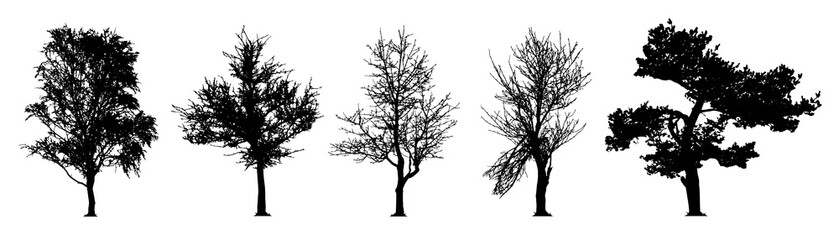 tree silhouette vector set