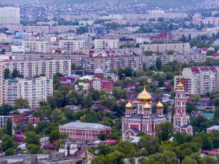 Top view of the city of Saratov, Russia. Orthodox Church with Golden domes.