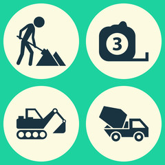 Building Icons Set. Collection Of Cement Vehicle, Digger, Measure Tool And Other Elements. Also Includes Symbols Such As Rule, Excavator, Vehicle.