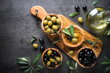 Black and green olives. Top view. Wall mural