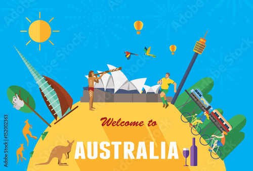 Flat design, Australia landmarks and icons, vector