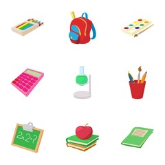 Education icons set, cartoon style