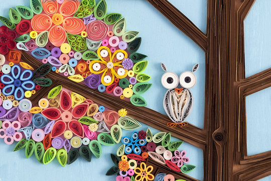 Owl in a quilling art tree