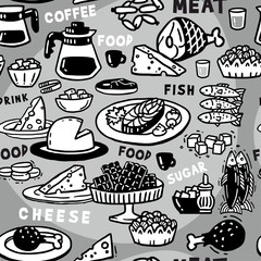 Monochrome seamless pattern food