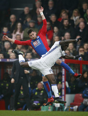Crystal Palace's Joel Ward in action with Chelsea's Victor Moses