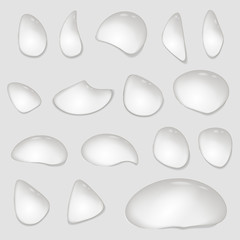 Drops of water on a transparent background. Vector.