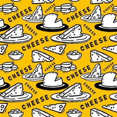 Yellow seamless pattern Cheese in a plate