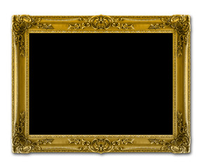 Vintage shiny golden painting frame, isolated against the white background. Inside the painting frame is black for easily removal.