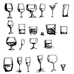 Vector set of glasses goblets in ink hand drawn style.