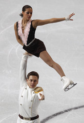 Bakirova and Kamianchuk of Belarus perform during their pairs free skating programme at the European Figure Skating Championships in Sheffield