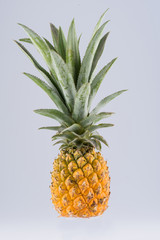 Pineapple sliced in pieces, isolated on background.