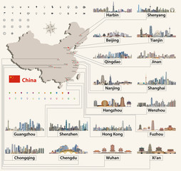 Fototapete - vector map of China with largest chinese city skylines. Navigation, location and travel icons