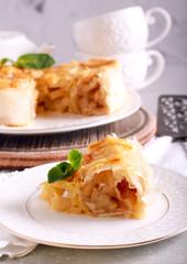 Filo pastry apple pie, sliced