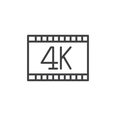 4k video line icon, outline vector sign, linear style pictogram isolated on white. Symbol, logo illustration. Editable stroke. Pixel perfect