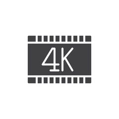 4k video icon vector, filled flat sign, solid pictogram isolated on white. Symbol, logo illustration. Pixel perfect