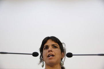 Andalusian regional Podemos (We Can) party leader Rodriguez speaks during a news conference in the Andalusian capital of Seville, southern Spain
