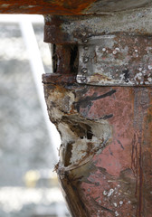 A broken part of the sonar of the naval vessel Cheonan is seen at the Second Fleet Command's naval base in Pyeongtaek