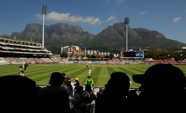 A general view shows Table Mountain in the background during the third cricket test match between South Africa and England at Newlands