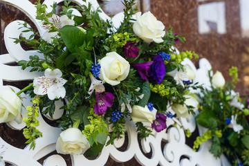Floral composition decoration set closeup