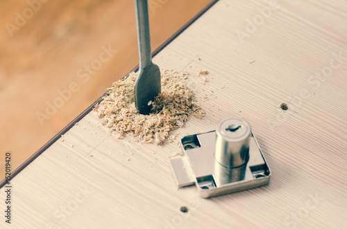 Drilling Holes In A Wooden Block Stock Photo And Royalty Free
