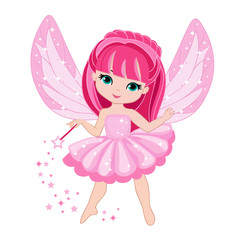 Beautiful little fairy with pink hair. Vector illustration isolated on white background.
