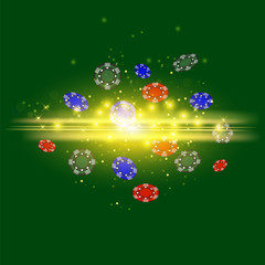 Gambling Plastic Colored Chips on Green Cloth Background