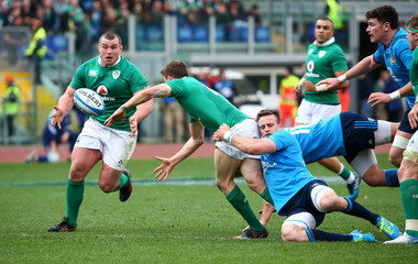Ireland's Garry Ringrose and Jack McGrath in action with Italy's Braam Steyn