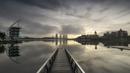 PUTRAJAYA, MALAYSIA - February 5, 2016: Pullman Putrajaya Lakeside sunrise time during Putrajaya, Malaysia.