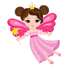 Beautiful little fairy in a pink dress with a magic wand. Vector illustration isolated on white background.