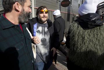 Actor Jack Black walks along Main Street at the Sundance Film Festival in Park City
