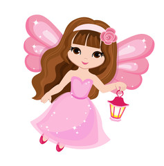Beautiful little fairy in a pink dress with a lantern.  Vector illustration isolated on white background.