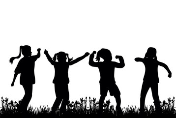 silhouette of children play and dance on grass