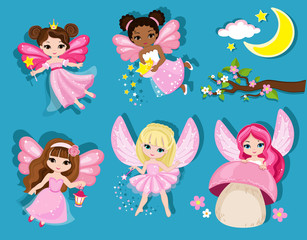 Collection of cute spring fairies. Vector illustration isolated on blue background.