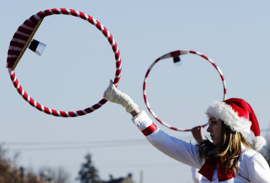 A woman performs during the Lole Parade, a traditional German event, in Agnita