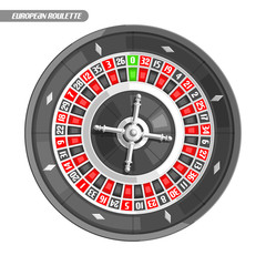 Vector illustration of Roulette Wheel: french roulette with silver wheel for online casino, top view, isolated on white background, logo for gambling with title - european roulette, round gamble icon.