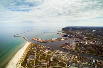 Aerial view of Liepaja city and surroundings, Latvia.